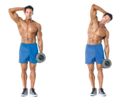 Side bends with dumbbells